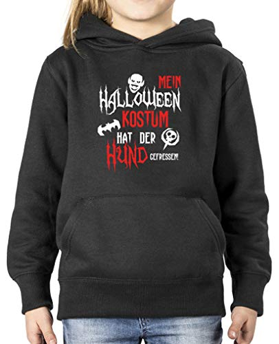 Halloween Kostuem hat der Hund gefressen - Mädchen Hoodie - Schwarz/Weiss-Rot Gr. 122/128 ()