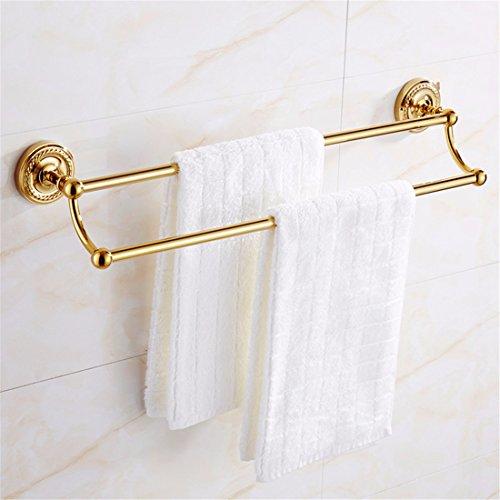 D&D-Bathroom Accessories Badaccessoires Sets/Im europäischen Stil alle Kupfer, Gold mit rundem Boden Twist, Badezimmerarmaturen, Handtuchhalter, Handtuchhalter, 2-polig -
