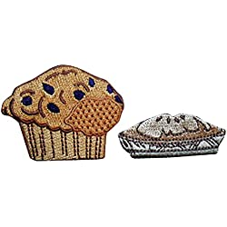 Lot de 2 écussons brodés thermocollants à appliquer au fer à repasser Motif Sweet Delicious Deserts Blueberry Muffin et tarte aux pommes fraîches Couleurs bronze, marron et bleu