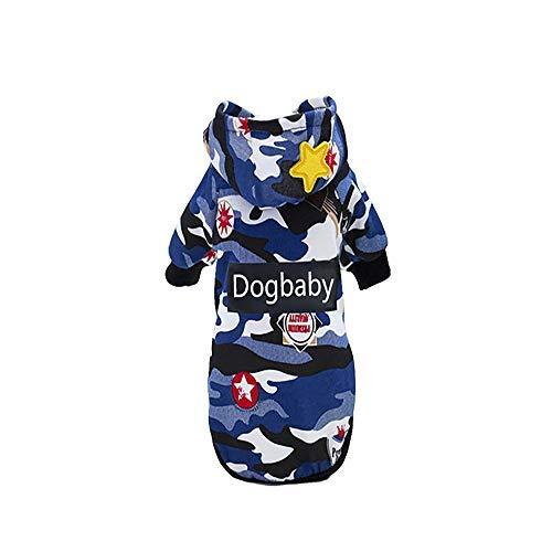 Deaman Regenjacken Jumpsuit T-Shirt probeninmappx Camouflage Dog Hoodie Mäntel Pet Kleidung Warmes Kostüm Puppy French Bulldog Sweatshirt Outwear, Blau, Größe XL Warme Weiches - Dea Hunde Kostüm