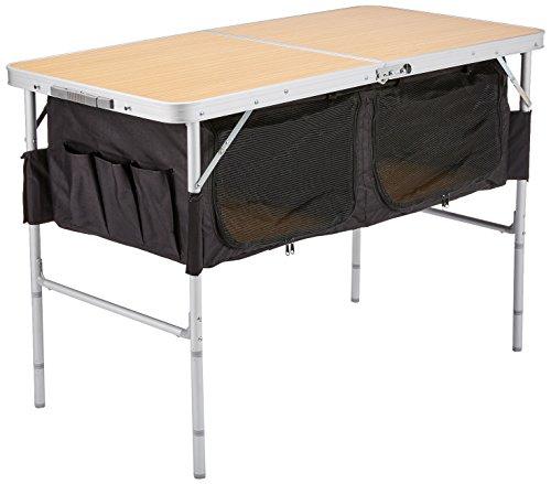 10T Portable Box Alu Campingtisch 120x60cm Klappkoffertisch mit 2 verschließbaren Ablage-Fächer und stabiler MDF Platte bis 40kg Gartentisch Beistelltisch Picknick Falttisch mit Tragegriff und - Zubehör Picknick-tisch