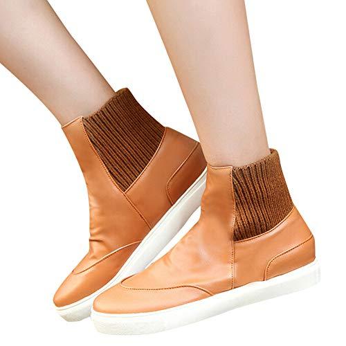 ❤️ Botas Cortas Mujer de Invierno, Moda Mujer Zapatos con Punta Redonda Banda elástica Superficie Suave Plana con Botas
