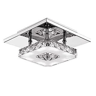 LED Crystal Ceiling Light Max 12W Azerogo Modern Flush Mounted Ceiling Lamp Stainless Steel Light Fixture Ceiling for Hallway, Aisle, Porch, Bedroom