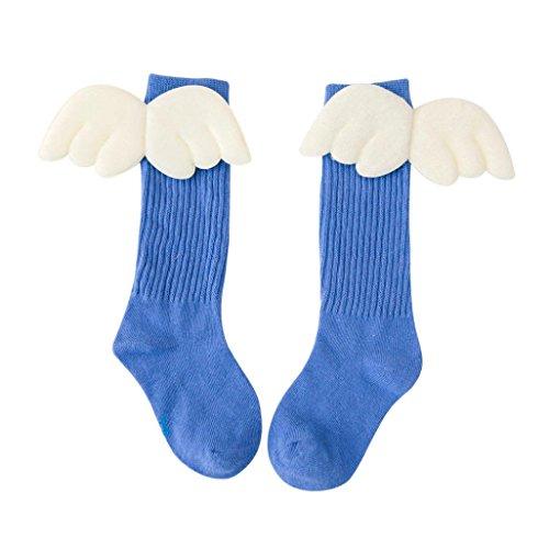 Socken Longra Baby Kinder Kniestrümpfe für jungen Mädchen Baumwollflügel Hohe Engelsflügel Socken (18CM (7-10Jahre), Light Blue) (Strumpfhose Light Sheer)
