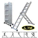 Mehrzweck-Leiter, zusammenklappbar, Aluminium, Multifunktions-Design, mit 1 Werkzeugablage, EN 13, leicht, einfache Montage