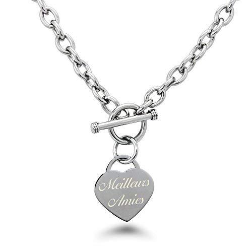 Edelstahl Beste Freunde (auf Französisch) mit Gravur Herz Charme Halskette