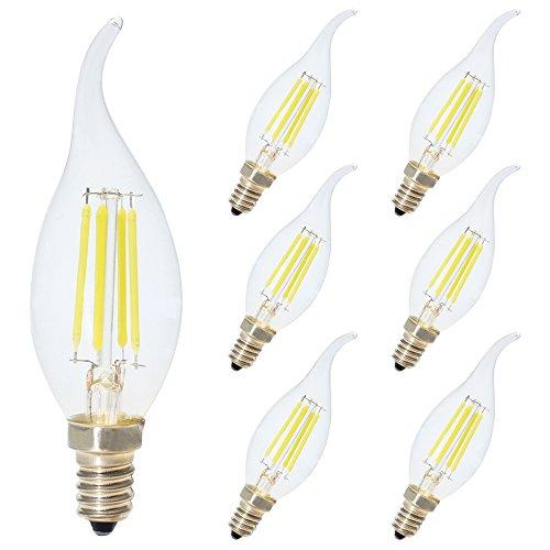 6x Nicht Dimmbar 4W E14 LED Kerzenform Windstoß Filament Classic Glühfaden LED Kerzen Lampe Kaltweiß 6000K