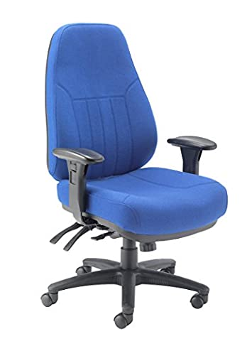 Office Hippo 24 Hour High Back Office Chair with Arms, Fabric - Blue