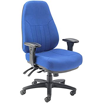 Office Hippo 24 Hour High Back Office Chair With Arms, Fabric   Blue