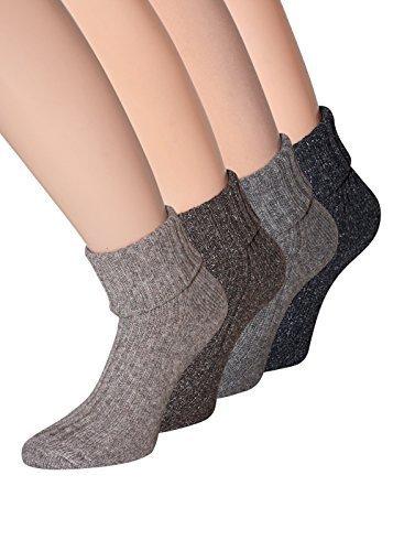 Damen Wollsocken aus Wolle mit Seide weiche Naht keine Druckstellen Gr. 39-42, 4 Paar (Dünne Wollsocken)