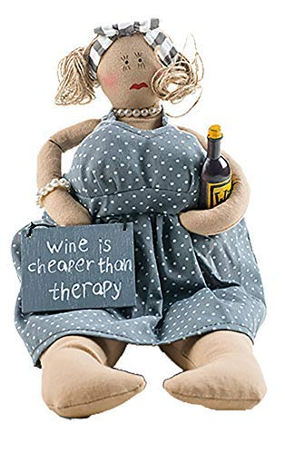 Kantensitzer Lady mit Schild Wine is Cheaper Than Therapy Baden 2188858