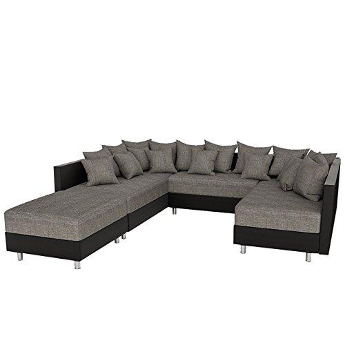 big ecksofa claudia xxl eckcouch mit schlaffunktion und polsterhocker design u form couch. Black Bedroom Furniture Sets. Home Design Ideas