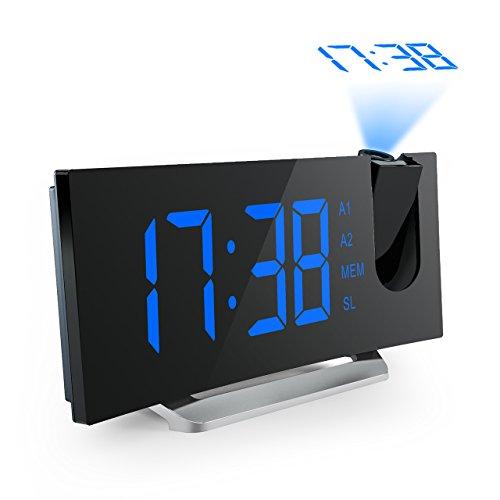 Projektionswecker, Mpow FM Radiowecker/Radiowecker mit Projektion/Uhrenradio/digitaler Wecker, Dual-Alarm mit USB-Ladeanschluss, 5'' große LED-Anzeige mit Dimmer, 12/24-Stunden, Datensicherung mit Batterie am Stromausfall.