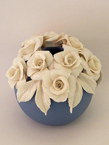 Profumatore ambiente indaco 2017 con rose su bordo - bomboniera matrimonio - porcellana capodimonte visconti