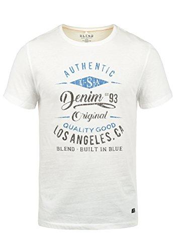 Blend Doppler Herren T-Shirt Kurzarm Shirt Mit Print Und Rundhalsausschnitt Aus 100{2dcf0c8e65d698d3e4e15265e4f2bdbaf45fec5f8bee2bfbb7cbb98135a51c68} Baumwolle, Größe:S, Farbe:Offwhite (70005)
