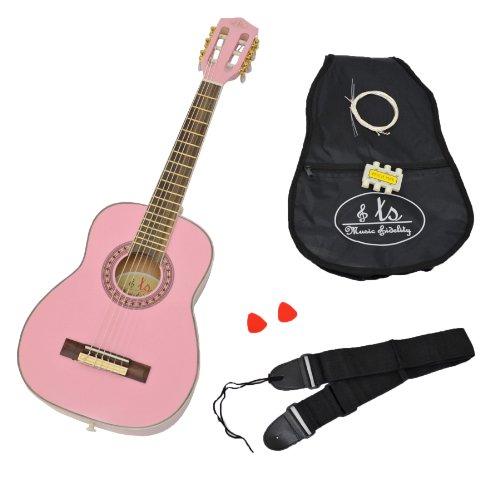 Rosa Gitarren-saiten (1/4 Akustik Konzert Kindergitarre in Rosa für 4 - 7 Jahre mit Zubehörset: gepolsterte Gitarrentasche, Gurt, Saiten und Stimmpfeife)