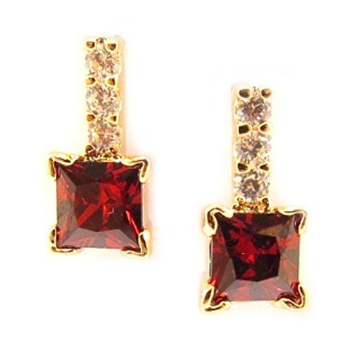 Pendientes de oro 'Celestina'rojo plateado.