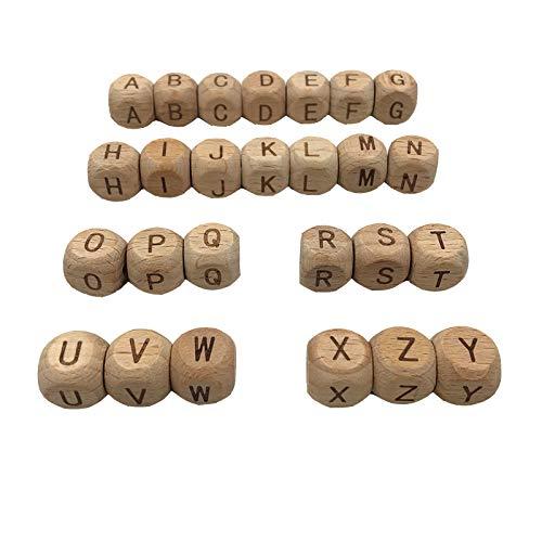 Coskiss 52pcs Mordaza de haya 12mm12mm (0,47 in 0,47 in) Letras de cubo de madera Espaciador Cuenta Alfabeto Cubo Cubo dados cuadrados Cuentas mezcladas (52pcs)