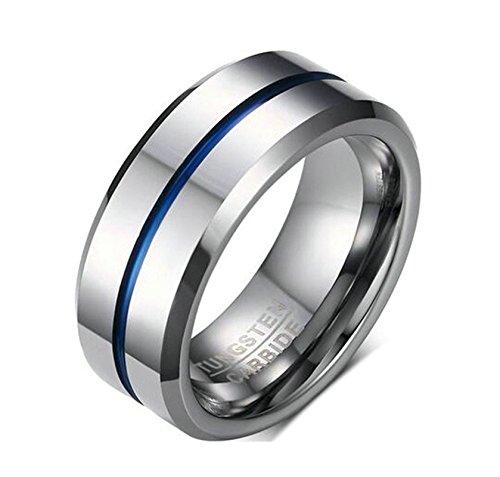 Jiedeng Schmuck Unisex Ringe aus Wolframcarbid Ring mit Einfacher Stil Partnerringe Verlobungsringe Ehering Trauringe für Damen-Ring, Herren-Ring Silber Blau Größe 60 (19.1)