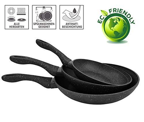 FRX 3 TLG. Pfannenset mit Antihaft Beschichtung Bratpfannen Bratpfannenset Keramik Pfanne Set Induktion (3tlg. Schwarz)