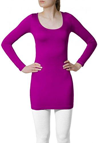 CASPAR - T-shirt à manches longues classique pour femme - plusieurs coloris - SRT012 Fuchsia