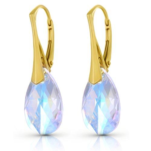 Gelb Gold Versilbert 925Sterling Silber Hebel Zurück Ohrringe mit Swarovski Aurora Borealis Kristallen–Frauen Fashion Jewelry–Mother 's Day Gifts für (S 70 Kostüme Verkauf)
