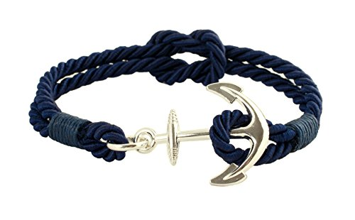 Geralin Gioielli Damen Armband Anker in Silber Marine Blau Seemannsknoten Handmade