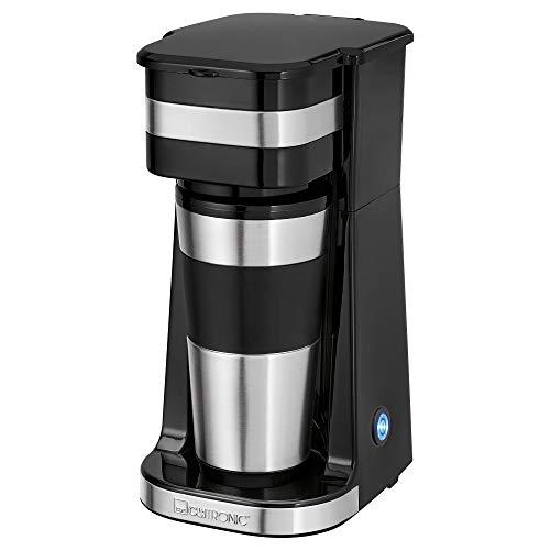 Clatronic KA 3733 1 Tassen-Kaffeeautomat inkl. doppelwandigem Thermo-Edelstahlbecher, Aromaverschlussdeckel mit Trinköffnung, 400 ml Fassungsvermögen, passend für alle gängigen Getränkehalter
