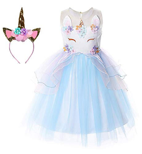 Le SSara Unicorn Kostüm Kleider Pageant Party Kleider Blumenabende Kleider Tutu Dress (120, E35-blue)