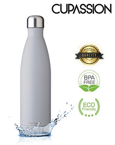 CUPASSION EVI Warm Grey - Edelstahl Vakuum Isolierflasche 750ml | Trinkflasche Wasserflasche | hält Getränke 18h heiß & 24h kalt | Thermosflasche & Thermoskanne |