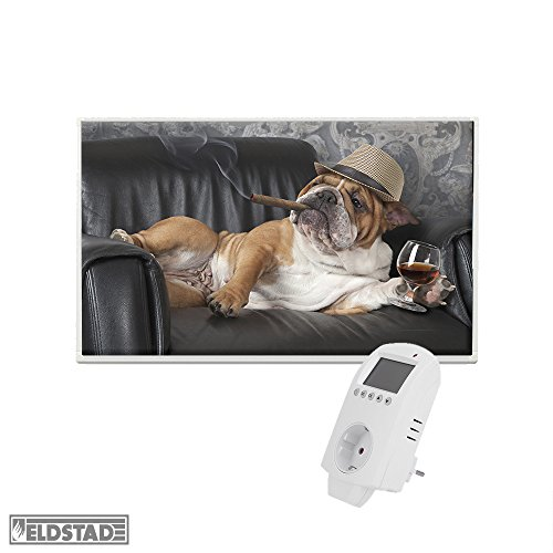 Eldstad Infrarotheizung 600W Thermostat Bildheizung Heizpaneel Infrarot Heizkörper Elektro Heizung mit Motiv Hund