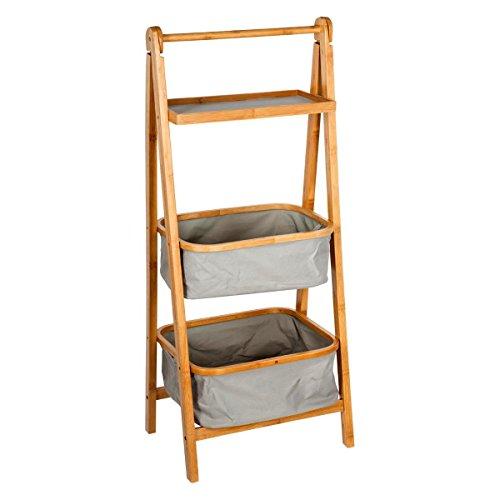 Scaffale pieghevole con 2 cestini + 1 ripiano - stile esotico colorato - colore: legno e grigio