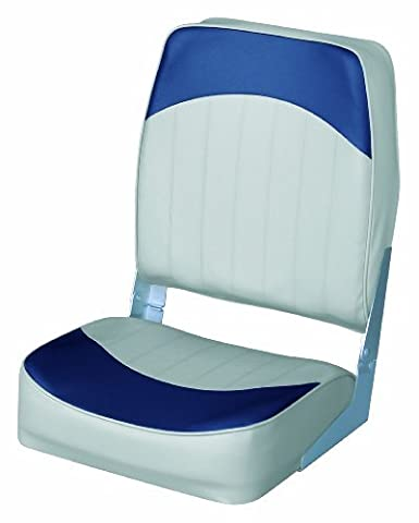 Wise 8WD781 Series High Back Folding Boat Seat, Grey/Navy by Wise