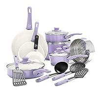 GreenLife CC001792-001 Soft Grip 16 Piece Ceramic Non-Stick Cookware Set, Lavender