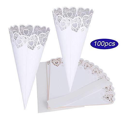 Buondac 100 pz coni portariso bianco portaconfetti scatoline bomboniere matrimonio nozze (con autoadesivo) (cuore)