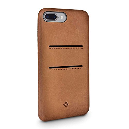 Twelve South Entspannte Lederhülle für iPhone 8 Plus / 7 Plus / 6 Plus , Handpolierte Leder Kartenfächer (Cognac) Burnished Cognac