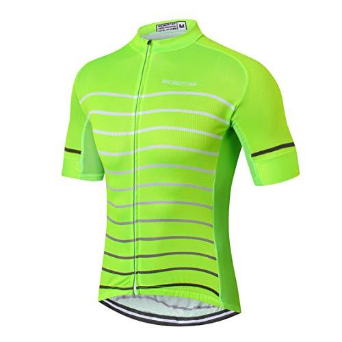 Shenshan Radfahren Jersey Männer Fahrrad Jersey Fahrrad Sport Top Breathable Team Mountain Road MTB Trikot Kurzarm Sommer Racing Shirts Leuchtendes Grün Größe M -