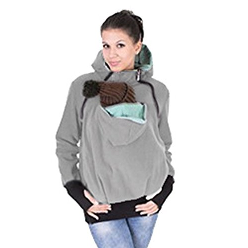 Angelia Girl 3 in 1 Hoddies Kangaroo Coat Maternity Outerwear Coat Baby Carrier (L UK 10, Gray)