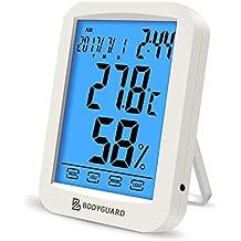 Thermo-Hygrometer digitales innen Thermometer mit Uhrzeit im Schlafzimmer Büro