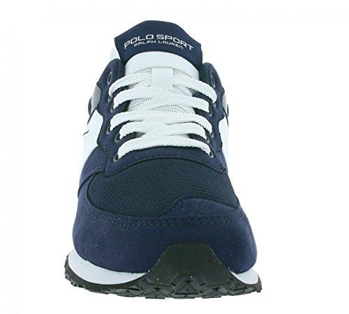 POLO RALPH LAUREN SLATON PONY NEWPORT navy scarpe uomo pelle sneakers Blau