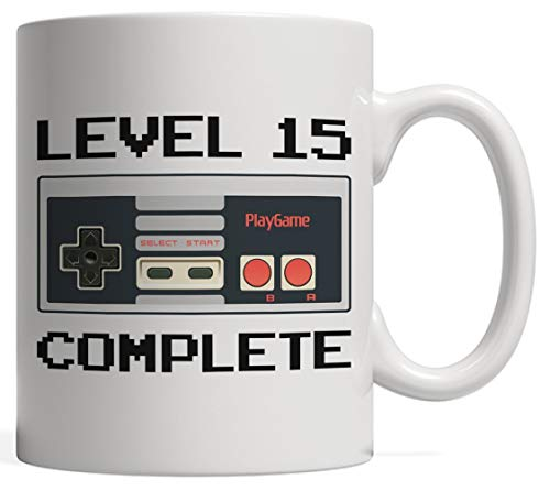 Level 15 Complete, Gamer Birthday Mug | Video Game Lover Controller Anniversary - Fifteen 15 Year Old Bday Gift for Teens, Niece Nephew