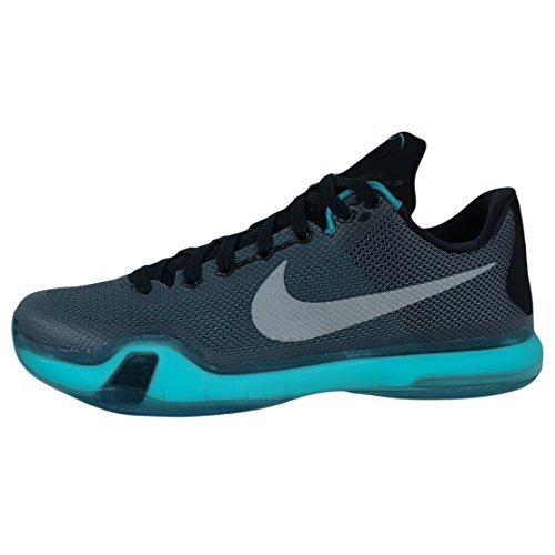 Nike Kobe X, Scarpe da Basket Uomo Multicolore (Negro / Plateado / Azul (Blk / Mtllc Slvr-Rdnt Emrld-Drk))