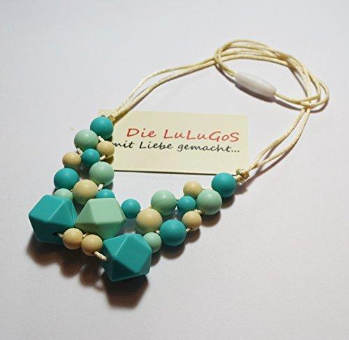 Image of Stillkette Halskette Beißkette aus Silikon für Mama und Baby Mamakette zahnen BPA free mint türkis beige