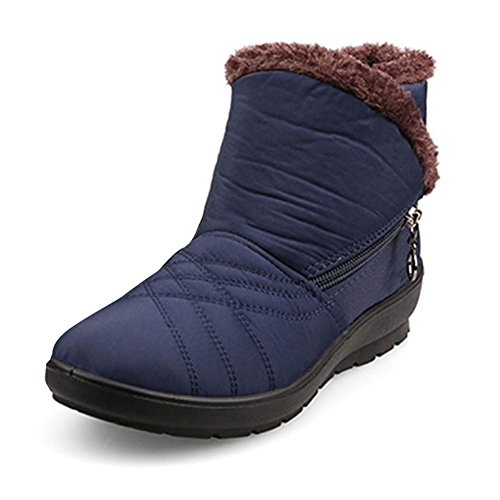Gaatpot Ladies Stivali Invernali Stivaletti Biker Boot Boots Zipper Inverno Caldo Stivali Di Pelliccia Foderato Stivali Casual Appartamenti Comodi Stivali Blu