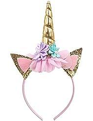 Serre-tête en corne de licorne à paillettes, boucles d'oreilles à fleurs pour décoration de fête ou costume cosplay