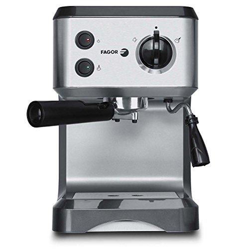Fagor CR-1500 Espressomaschine leistungsstarke 1050W Siebträger-Espressomaschine/Kaffeemaschine inkl. Milchaufschäumer-Funktion, 15 bar Pumpendruck Wassertank 1.25 Liter Edelstahl