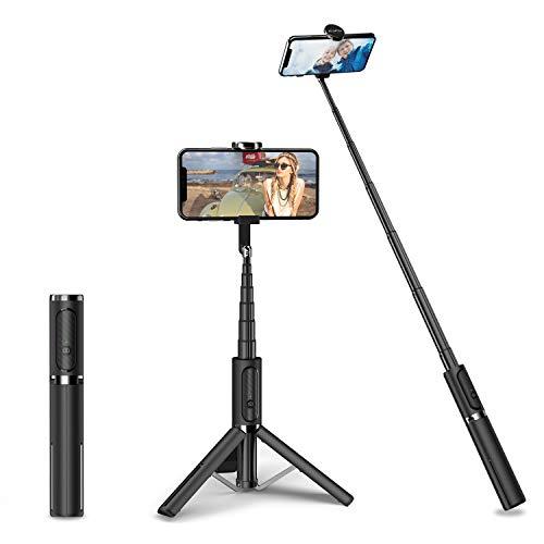 ATUMTEK Trípode Palo Selfie Bluetooth, Extensible 3 en 1 Palo Selfie de Aluminio con Mando a Distancia Inalámbrico con Rotación de 270° para iPhone 11/XS MAX/XS/XR/X/8 Plus/8, Samsung, Xiaomi y más