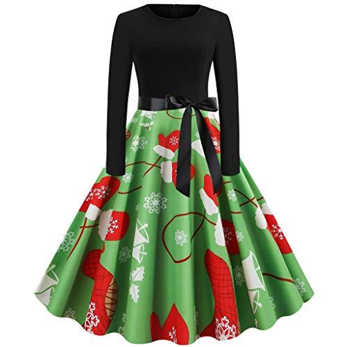 URIBAKY Weihnachtsdruck Kleidung Damen drucken Kleid-Christmas Langarm-Xmas 1950er Vintage Cocktailkleid Rockabilly Partykleid Schwingen-Weinlese-Kleid Faltenrock