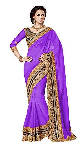 Jenny Fashion Women's Faux Georgette Saree (Jodha_Purple_Purple)