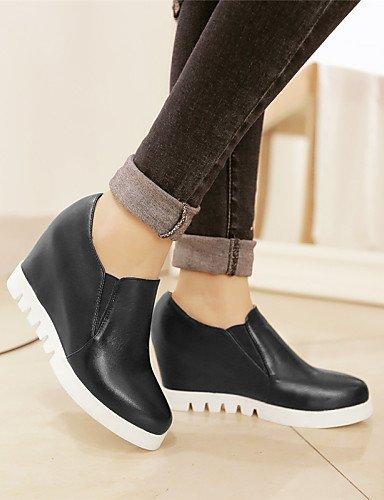 ShangYi Scarpe Donna - Scarpe col tacco - Ufficio e lavoro / Casual / Formale - Tacchi / Plateau / Punta arrotondata - Zeppa - Finta pelle -Nero Black